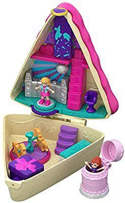 Mattel Torta Della Festa Polly Pocket-Cofre Tarta de Cumple, muñeca con Accesorios, Juguete +4 años