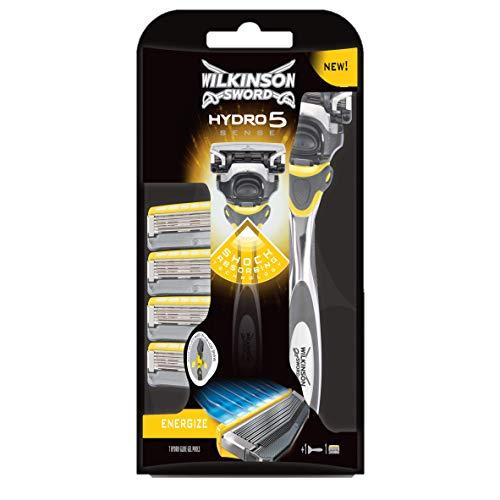 Wilkinson Sword PACK Hydro 5 Sense, KIT maquina recargable 5hojas con gel hidratante + 4 Cuchillas de Recambio
