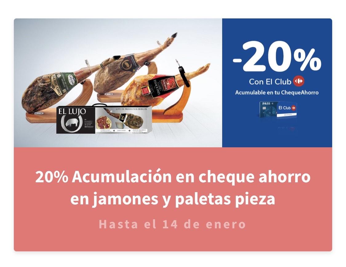 Carrefour - 20% acumulación en el chequeahorro en todos los jamones y paletas en pieza.