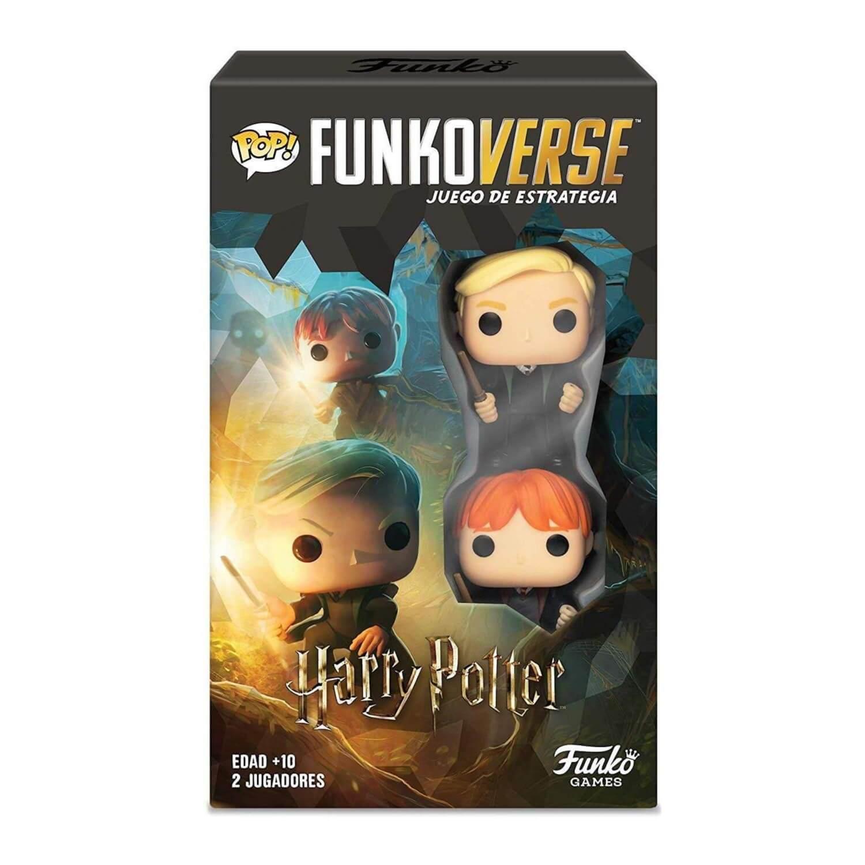 Pack Expansión para el juego de mesa Harry Potter Funkoverse con las figuras Draco Malfoy y Ron Weasley.