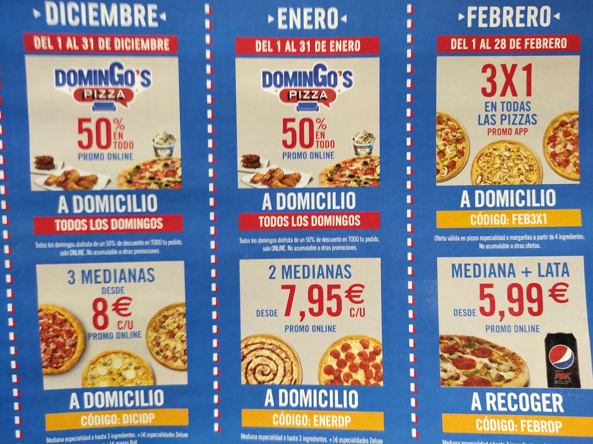 Descuentos dominos pizza varios Para Enero y Febrero 2021
