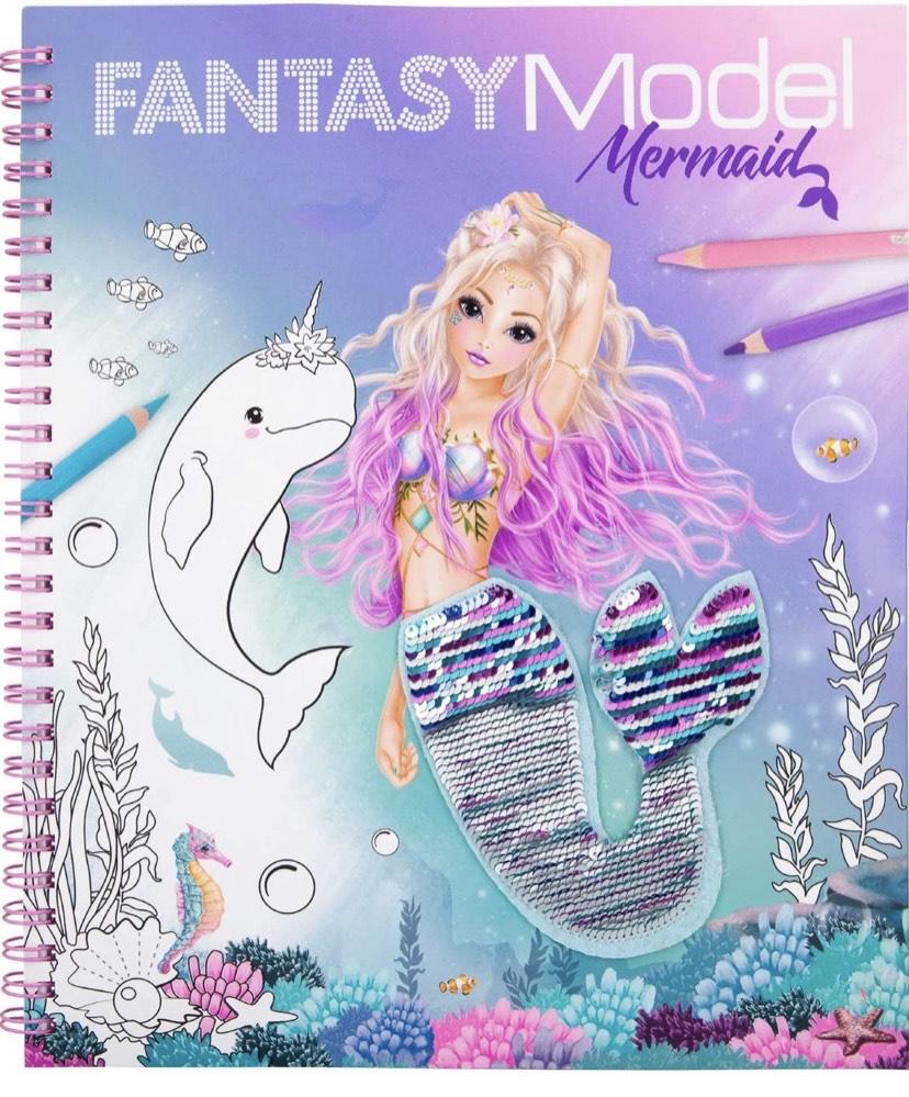 Depesche- Libro para Colorear con Lentejuelas, Fantasy Model Mermaid, Aprox. 20,5 x 24 x 1,5 cm