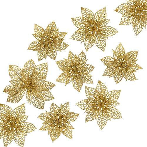 24 Flores Artificiales Decorativas Navidad Poinsettia (Dorado, 8cm, 10cm, 15cm)