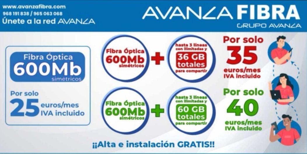 Fibra Óptica 600 Mb + 3 líneas llamadas ilimitadas y 36/60 GB a compartir + Instalación GRATIS [35/40€/mes]