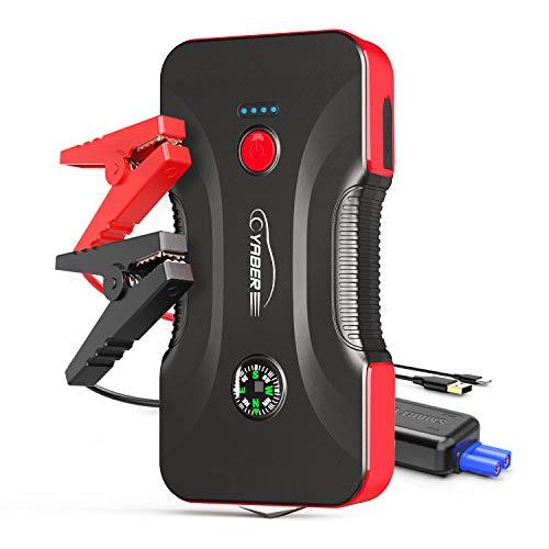 YABER Arrancador de Coches, 800A 12800mAh Arrancador de Baterias de Coche para 6.5L Gasolina o 5.0L Diesel