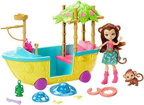 Enchantimals - Barco de la Selva Mágica con Muñeca Merit Monkey