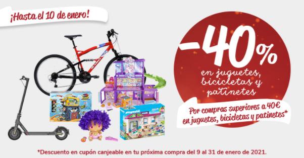 -40% en juguetes, bicicletas y patinetes en cupón canjeable (del 2 al 10 de enero)