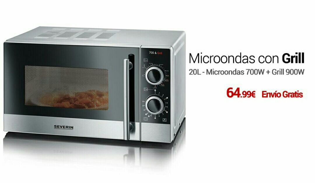 Horno microondas con grill, color plata y negro. Modelo Severin MW 7874