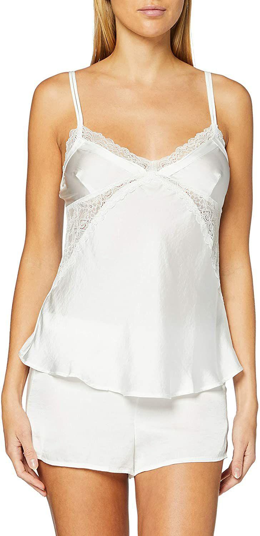 TALLA XL - Women's Secret, Pijama Corto Satinado para Mujer, Blanco