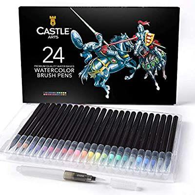 Castle Art Supplies estuche de 24 rotuladores de acuarela con punta de pincel
