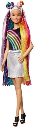 Barbie Destellos de Arociris, Muñeca rubia con cabello extra largo con accesorios para peinar,