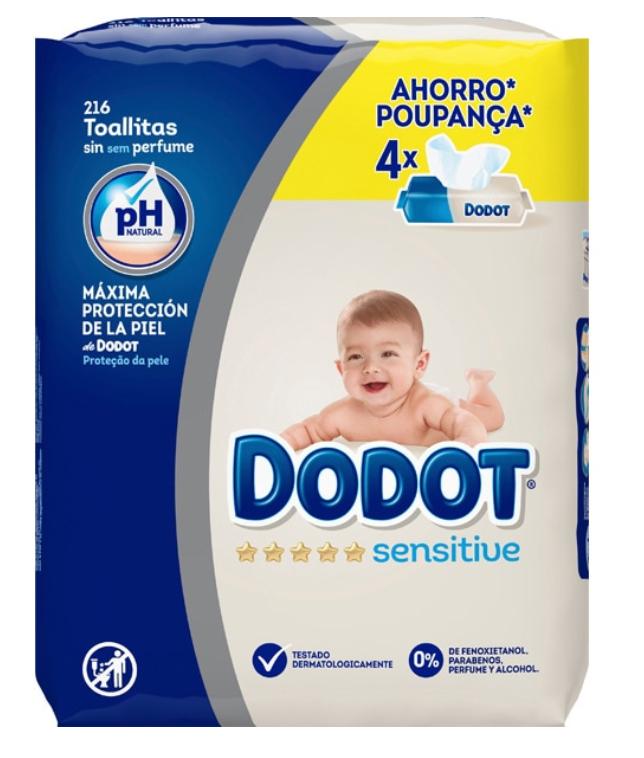 8 paquetes (432 unidades) de toallitas Dodot Sensitive
