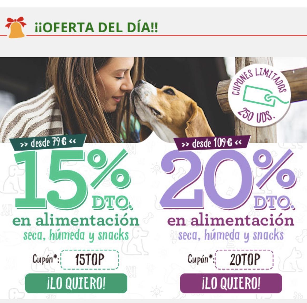 15% o 20% de descuento en alimentación en Tiendanimal