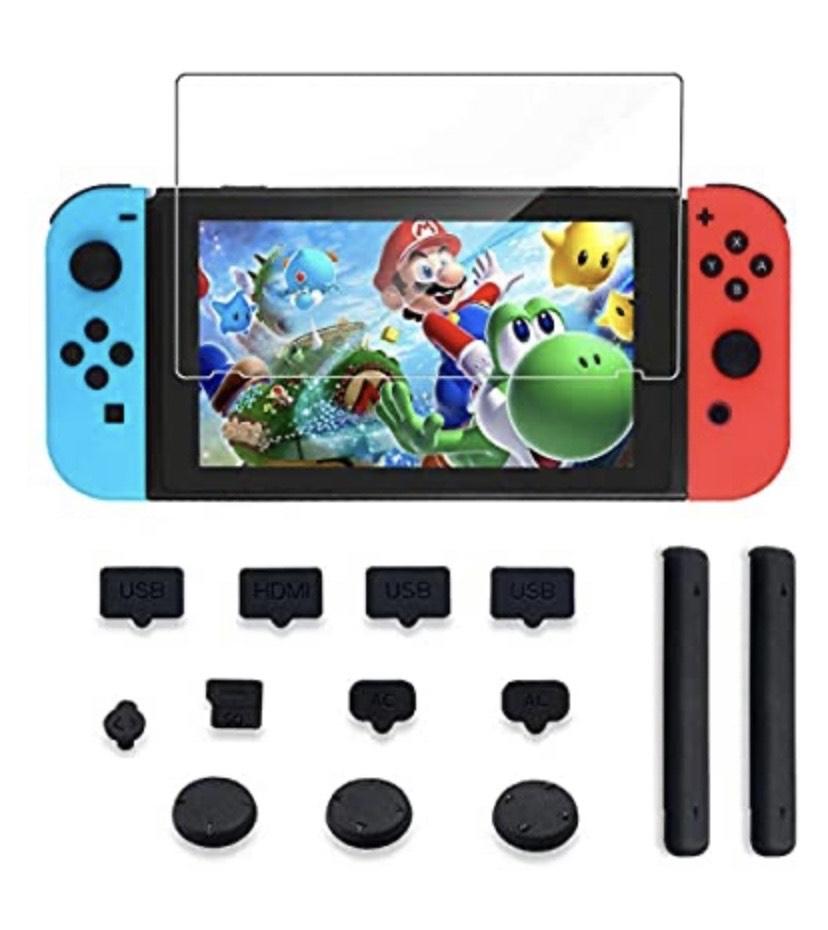 Kits de Accesorios para Nintendo, Protector de Pantalla de Vidrio Templado, Tapas de Polvo, Extensión de la Ranura para Tarjetas, Toallitas