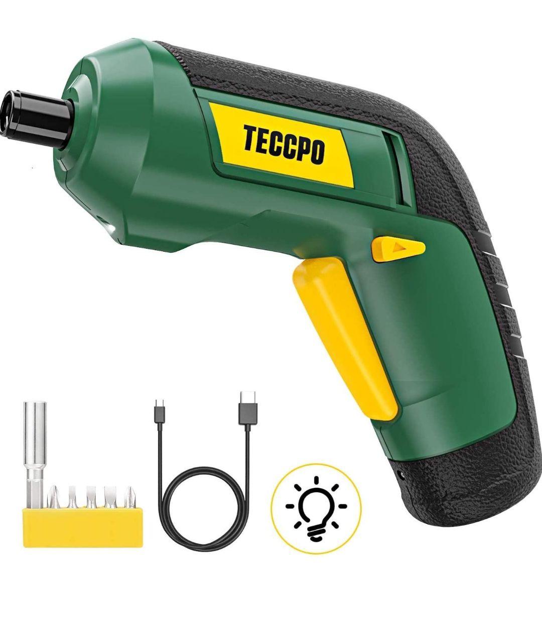 TECCPO -Destornillador Inalámbrico 3.6V, Par 4 Nm, LED Luz, 2.0Ah, Carga USB con cable, 6 Pcs Varios brocas, Indicador de carga
