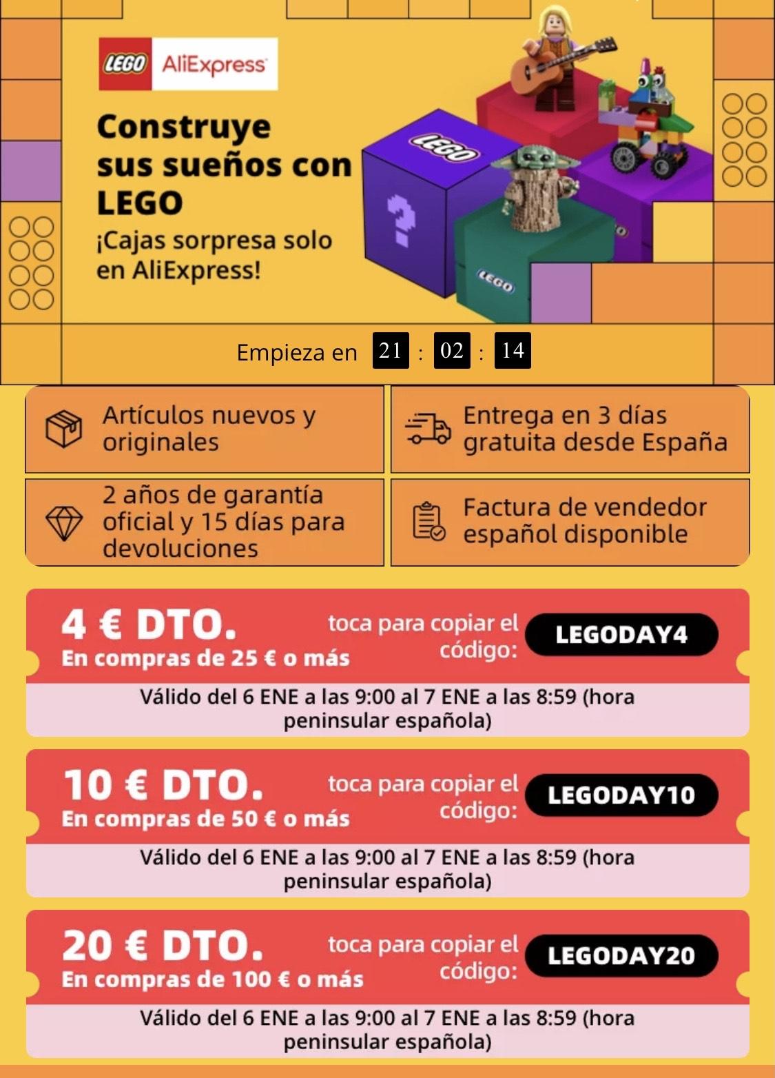 CUPONES DESCUENTO LEGO ALIEXPRESS (-4€, -10€, -20€)