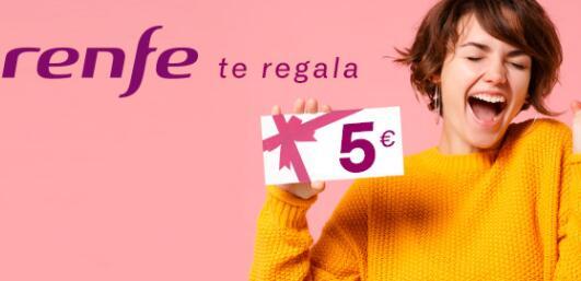 5€ por registrarte en RENFE + (gratis) para canjear en cualquier viaje hasta final de año