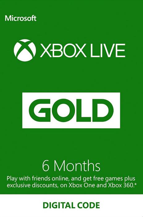 Suscripción de 6 meses a XBOX Live Gold. Suscripción de 12 meses también rebajada (solo para 360)