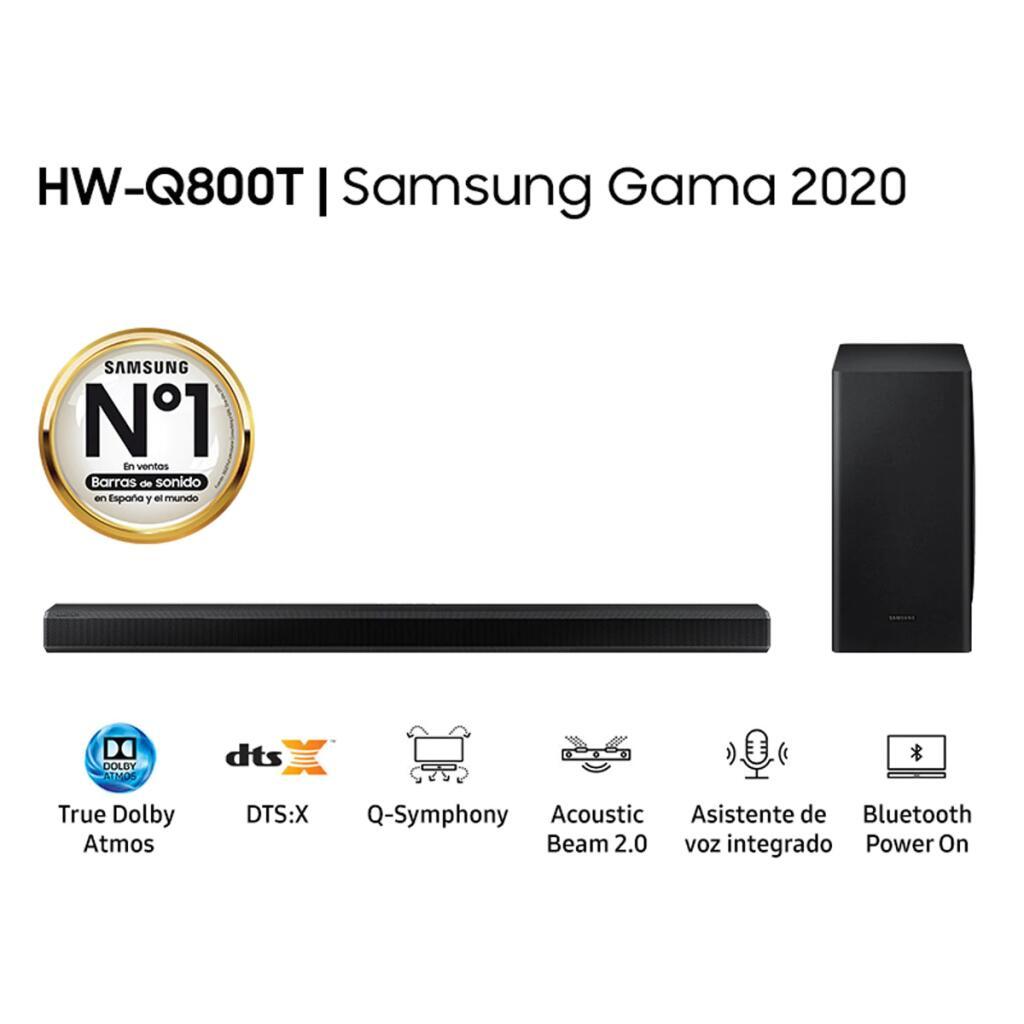 Barra de Sonido Samsung 2020 HW-Q800T True Dolby Atmos DTS:X, Q Symphony con Subwoofer inalámbrico, Asistentes de voz integrados