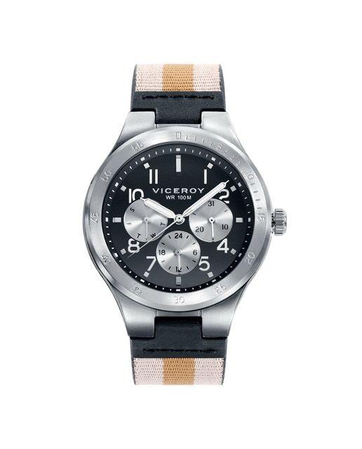 Reloj de Hombre Viceroy Beat multifunción de acero con correa de nylon y piel