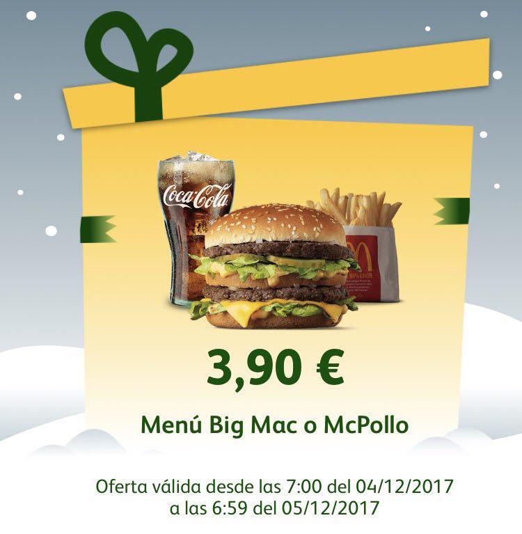 Menu Big Mac o McPollo por solo 3,90€