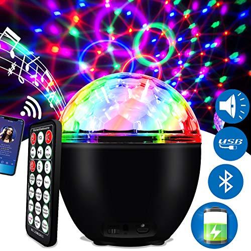 ENONEO Luces Discoteca 16 Colores Bola Discoteca con Cable USB LED Giratoria