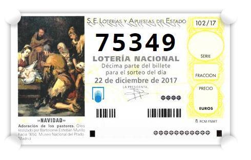 10.000 participaciones de 1€ del nº 75349 GRATIS