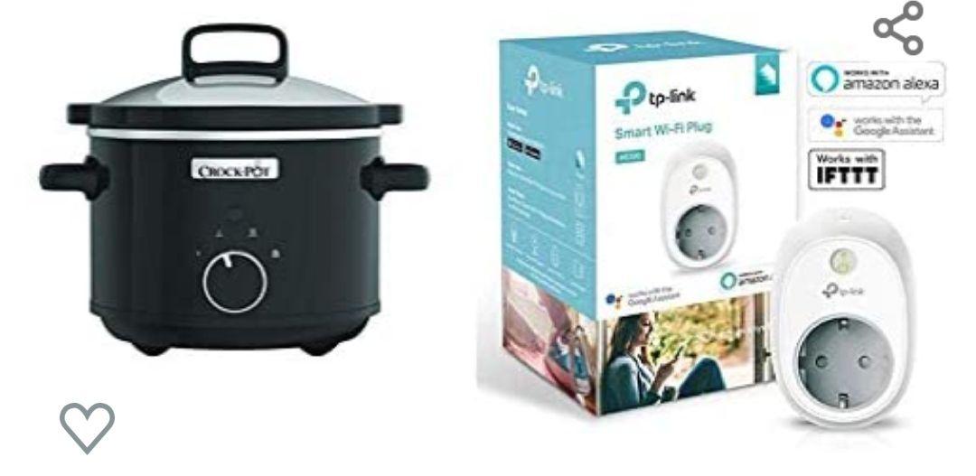 Crock-Pot CSC046X Olla de cocción lenta, 2,4 l, 180 W, Acero Inoxidable, Negro + TP-Link HS100 - Enchufe inteligente Alexa y Google