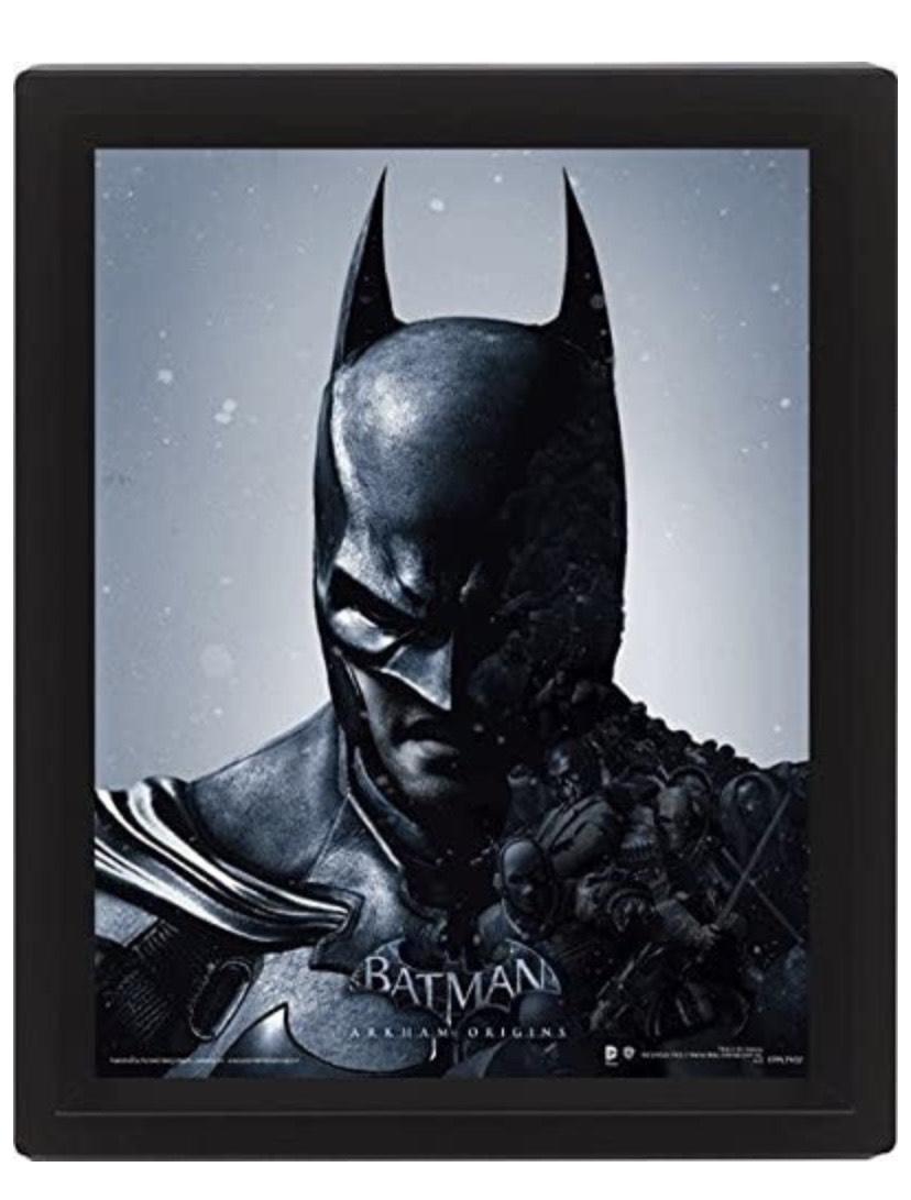 Batman Arkham Origins 10 x 20,32 cm de Batman con Marco con Tapa 3D