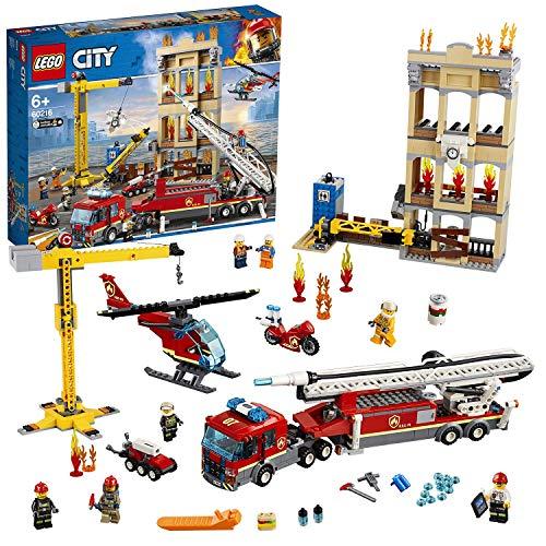 LEGO 60216 City Brigada de Bomberos del Distrito Centro incluye Camión, Grúa, Edificio, Moto y Helicóptero