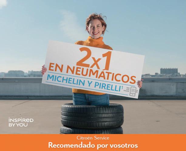 2x1 en neumáticos michelín y pirelli