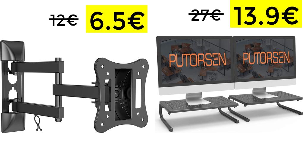 Soporte monitor giratorio 6,4€ y 2x elevadores 13,9€