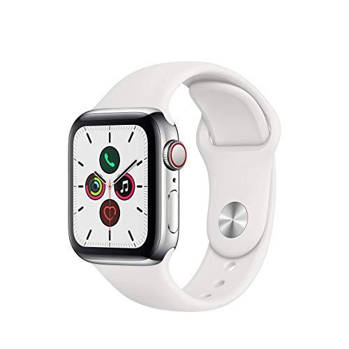 Reloj, Apple Watch Series 5, GPS, con celular,cristal de zafiro, Acero Inoxidable, Correa Deportiva Blanca