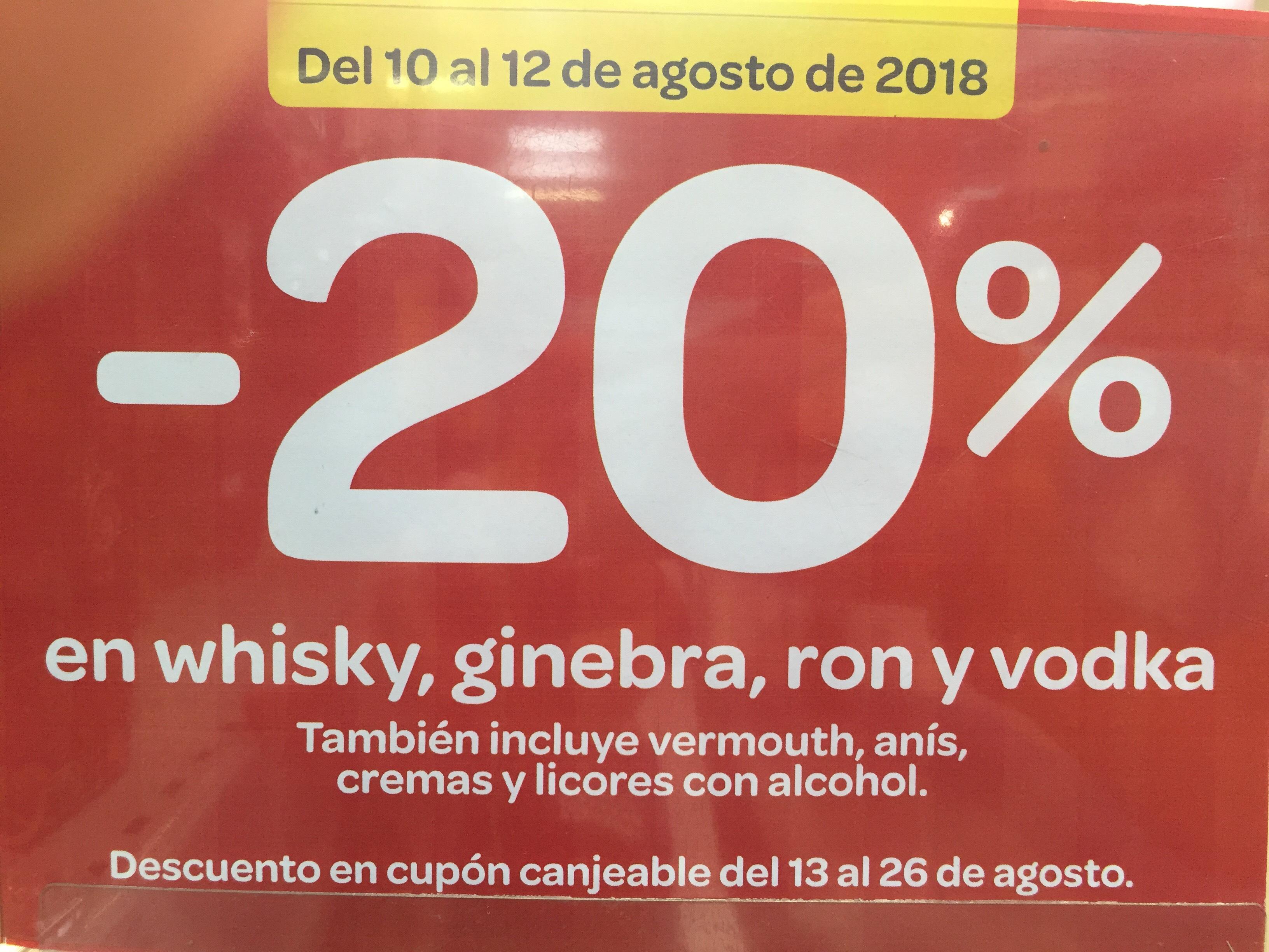 20% Whisky, ginebra, ron y vodka. Chequeahorro