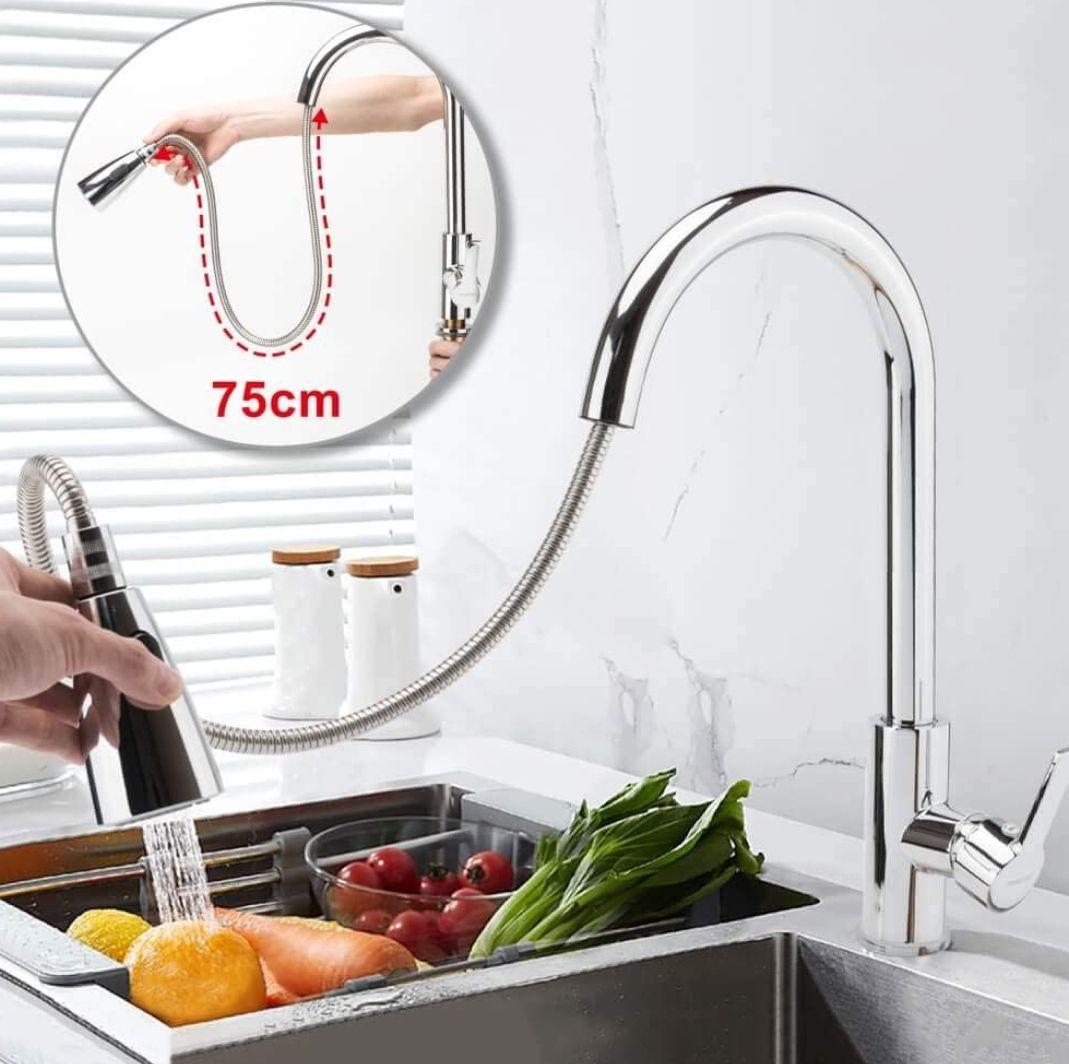 Grifo cocina extraíble y giratorio 360'.