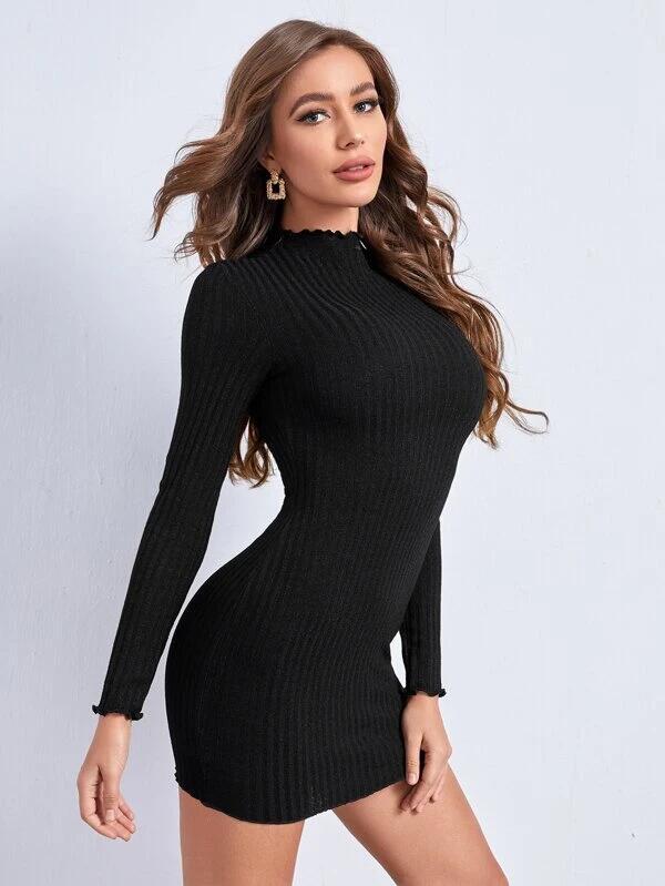 SHEIN Vestido ajustado tejido de canalé ribete en forma de lechuga