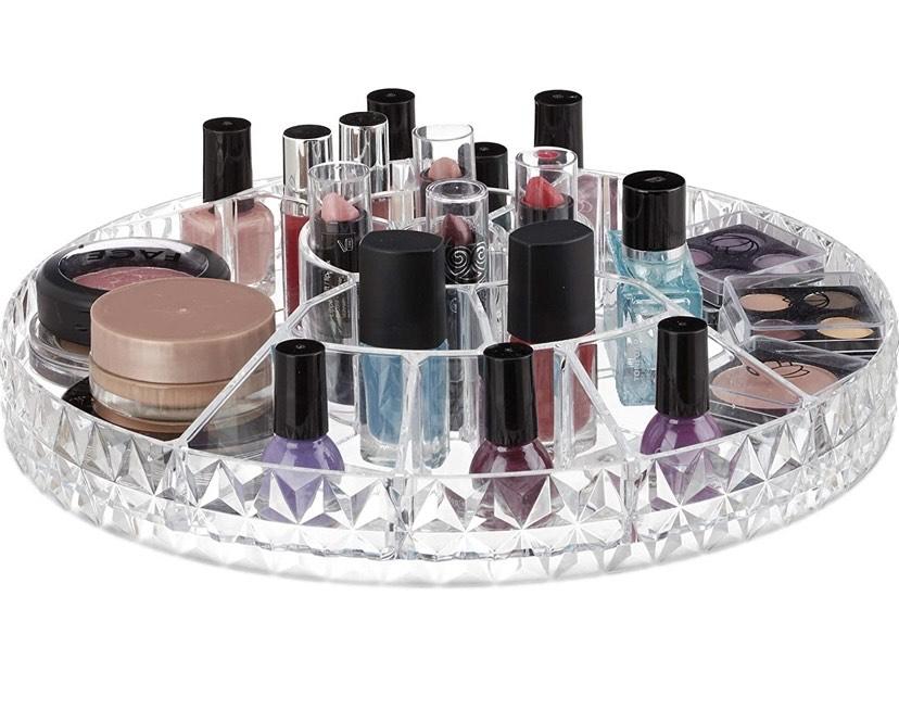 Relaxdays Organizador de Maquillaje, Plano, Giratorio, 17 Compartimentos,