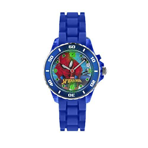 Reloj Infantil Spiderman, de Cuarzo, con esfera Analógica, Pantalla y Correa de Caucho Azul.