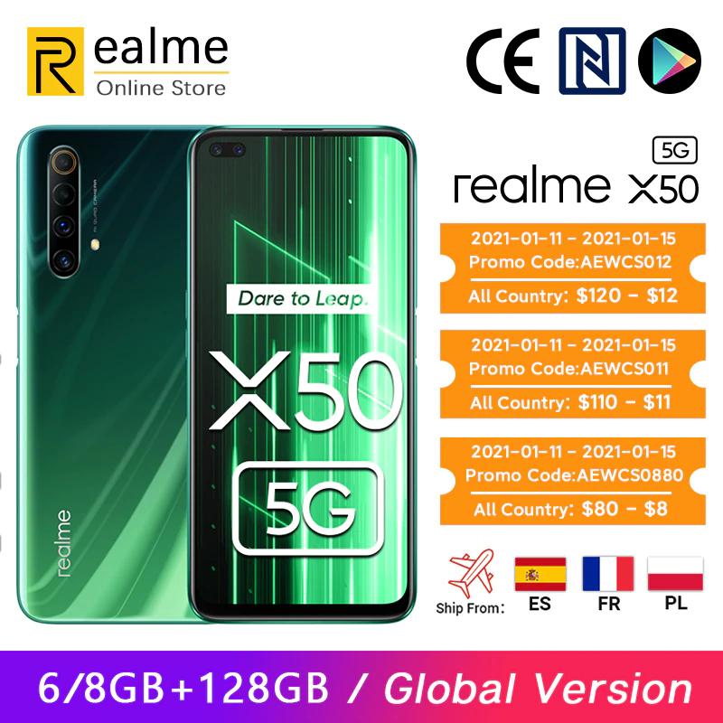 Versión global Realme X50 X 50 5G Smartphone 8GB 128GB Snapdragon 765G 6.57 '' 120Hz Ultra Display