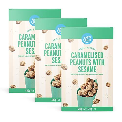 Cacahuetes Garrapiñados con Sésamo, Happy Belly, Pack de 3
