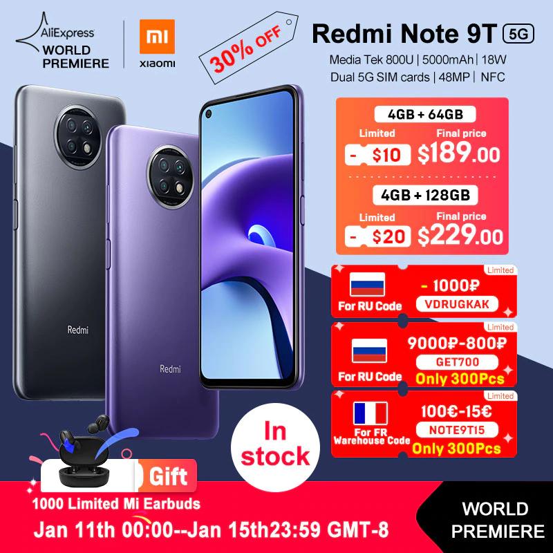 Smartphone Redmi Note 9T 5G - 4+64GB (desde España)