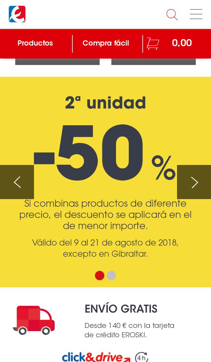 50% descuento 2° unidad eroski