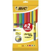 Marcador fluorescente 5 colores, 2uds por color Brite Liner Grip BIC, pack 10uds ( 2x1 )