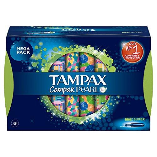 Pack de 3x2 de TAMPAX Compak Pearl Super, 36 tampones