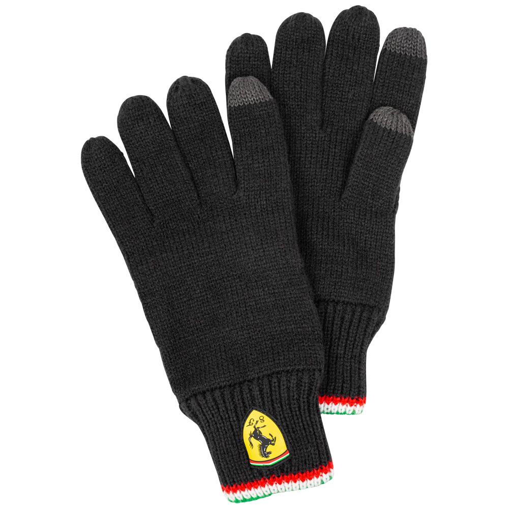Guantes Ferrari de punto con dedo tactil en negro o en rojo