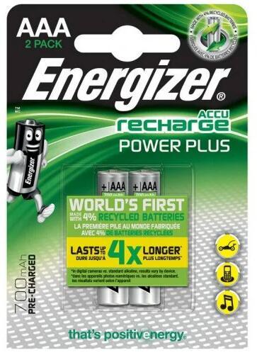 Paquete 2 pilas recargables Ni-MH AAA o HR03 y 700 mAh ENERGIZER +20 productos ( Alcampo Sanlúcar)