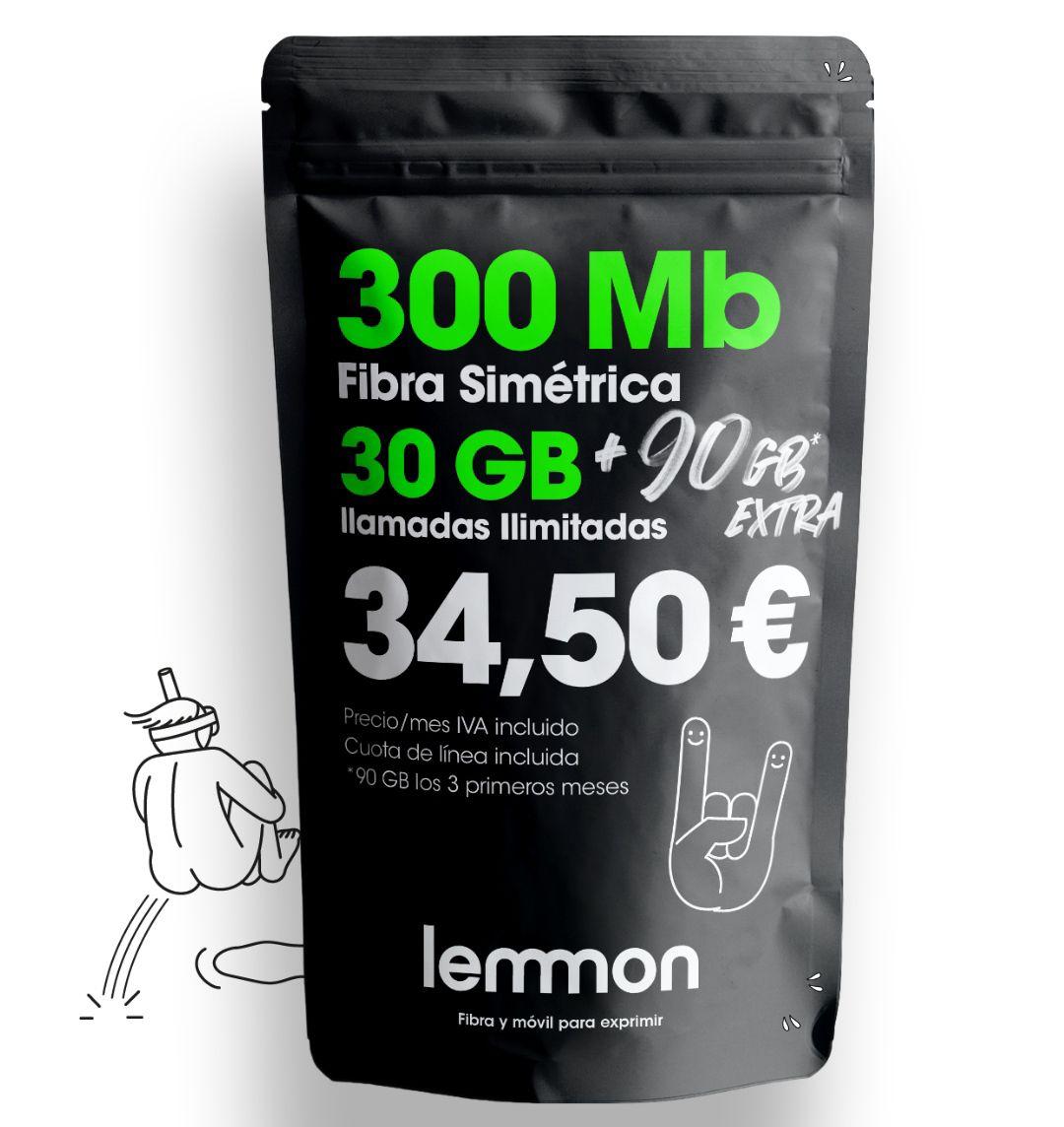 Fibra 300Mb Simétrica + llamadas ilimitadas + 30Gb. + 90Gb extra + Acumula Gb o 500mb fibra por sólo 39'90€ (Sin permanencia)