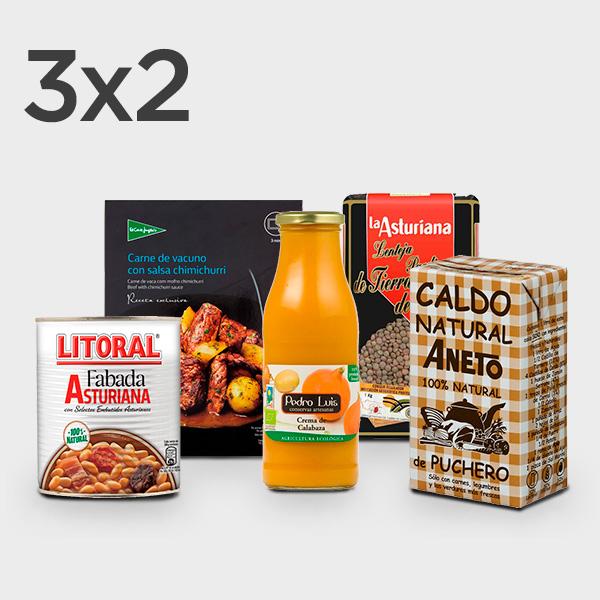 3x2 en caldos, cremas, sopas, legumbres y platos preparados