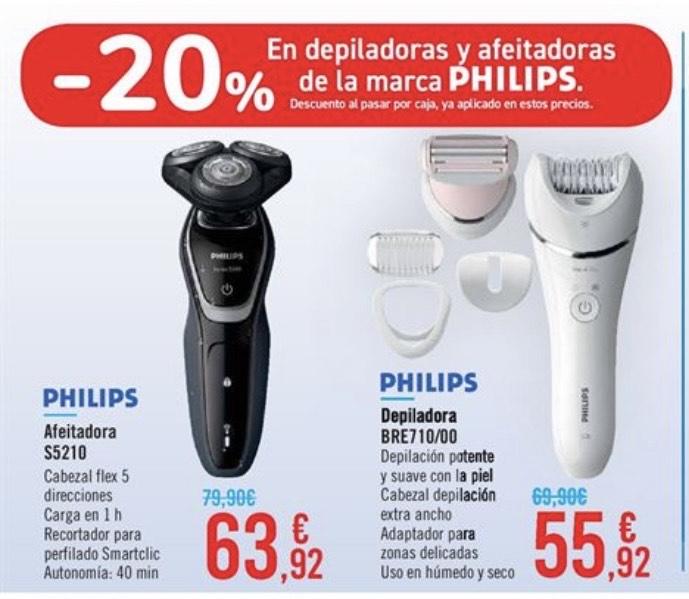 20% de descuento directo al pasar por caja en afeitadoras y depiladoras Philips - Carrefour
