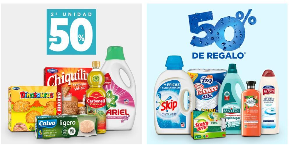 2ª unidad -50% productos de alimentación, droguería e higiene personal [Hipercor, ECI]